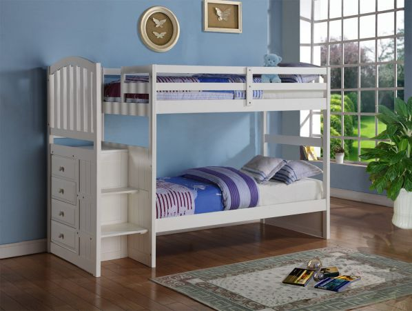 Arch Mission Stairway Bunk Bed in White by Donco Kids