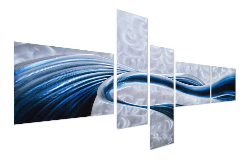 "Blue Desire Metal Wall Art - Extra Large Abstract Contemporary Sculpture - Modern Decorative Artwork Set of 5 Panels 69"" x 40"""