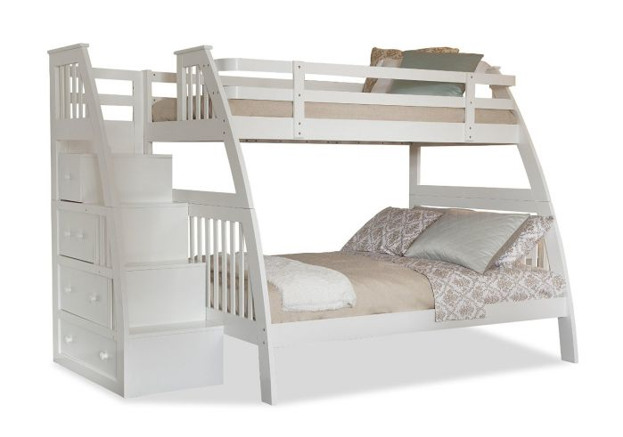 Canwood Ridgeline Bunk Bed with Built-In Stairs Drawers, Twin Over Full, White
