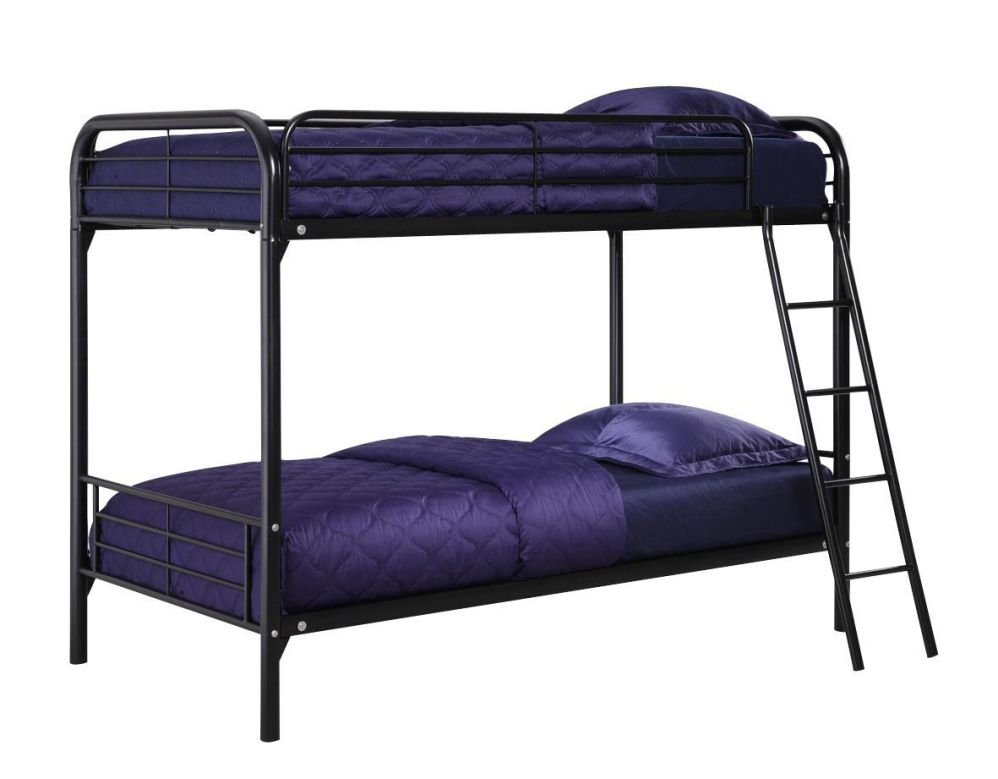 metal twin bunk beds as main furniture in bedroom. Black Bedroom Furniture Sets. Home Design Ideas