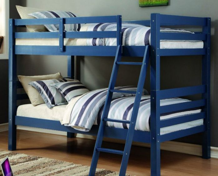 Donco Kids Twin Over Twin Federal Blue Liberty Bunk Bed