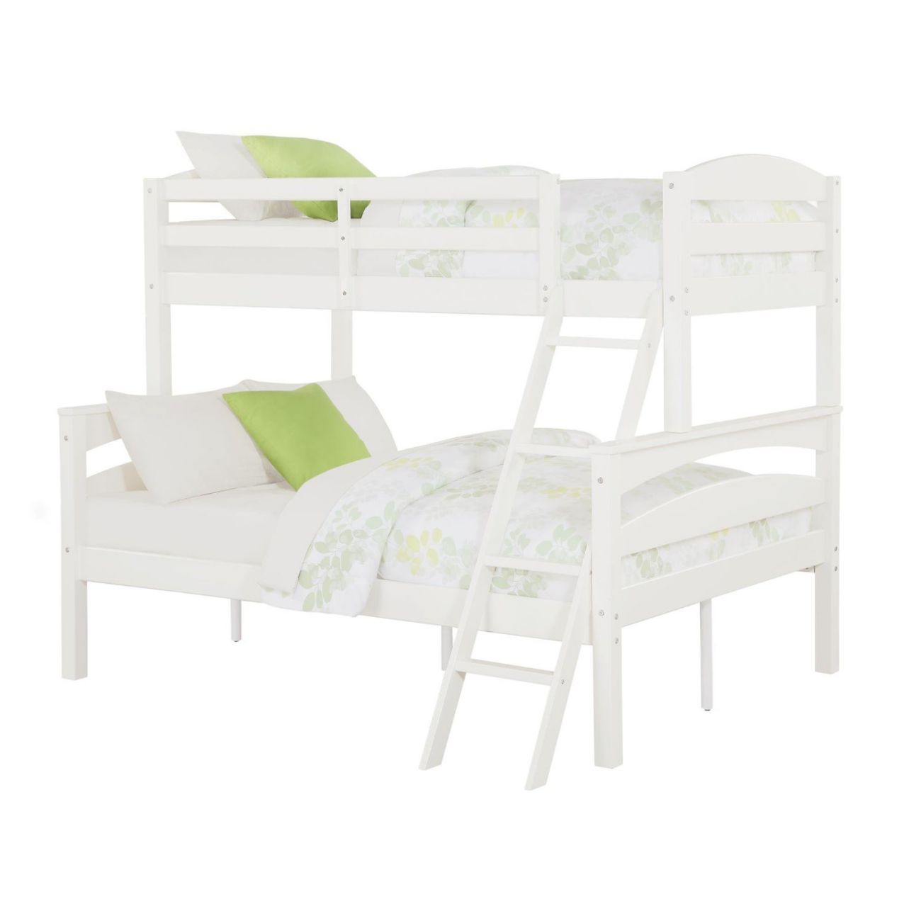 Dorel Living Brady Twin over Full Solid Wood Kid's Bunk Bed with Ladder, White - Color: White - Size: Full