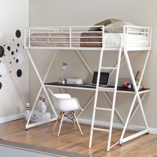 Duro Z Bunk Bed Loft with Desk - White