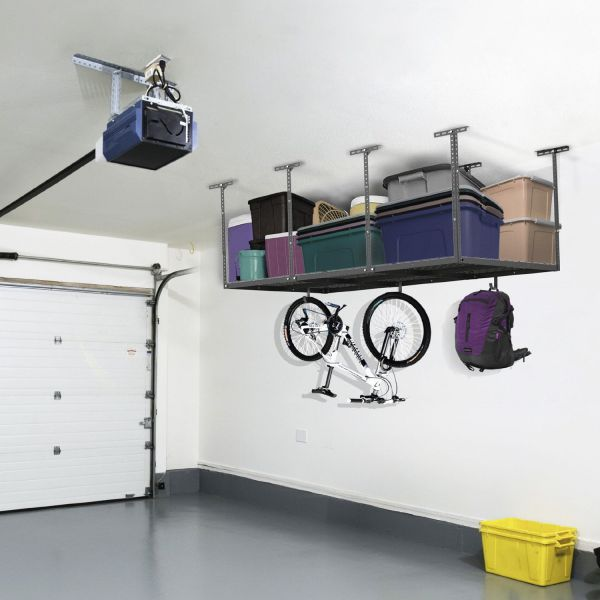 "FLEXIMOUNTS (2) 3x8 ft Racks Package Heavy Duty Overhead Garage Adjustable Ceiling Storage Rack, 96"" Length x 36"" Width x 40"" Height (Black)"