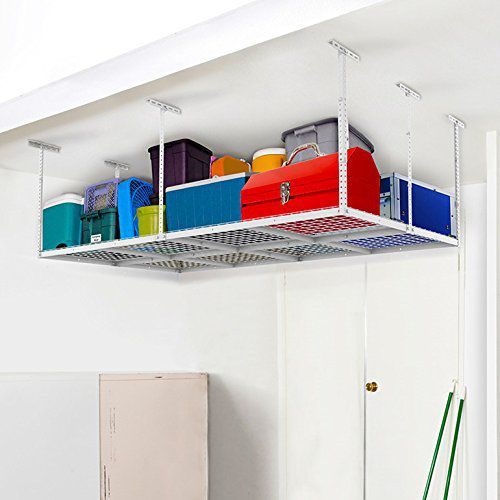 "FLEXIMOUNTS 4x8 Heavy Duty Overhead Garage Adjustable Ceiling Storage Rack, 96"" Length x 48"" Width x 40"" Height, White"