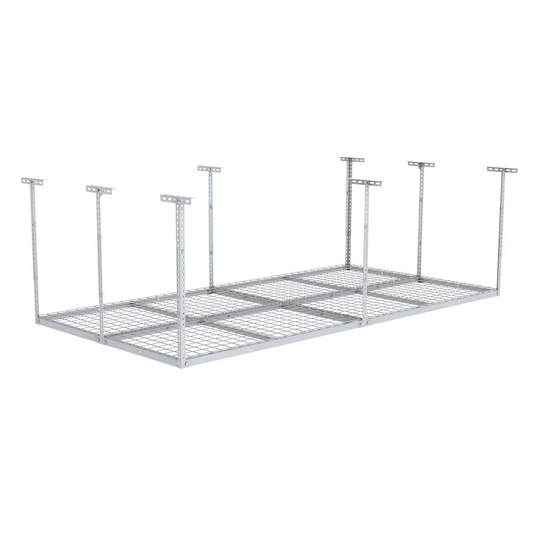 "Fleximounts 96"" Length x 48"" Width x 40"" Height Adjustable Ceiling Storage Rack 4x8 Overhead Garage white"