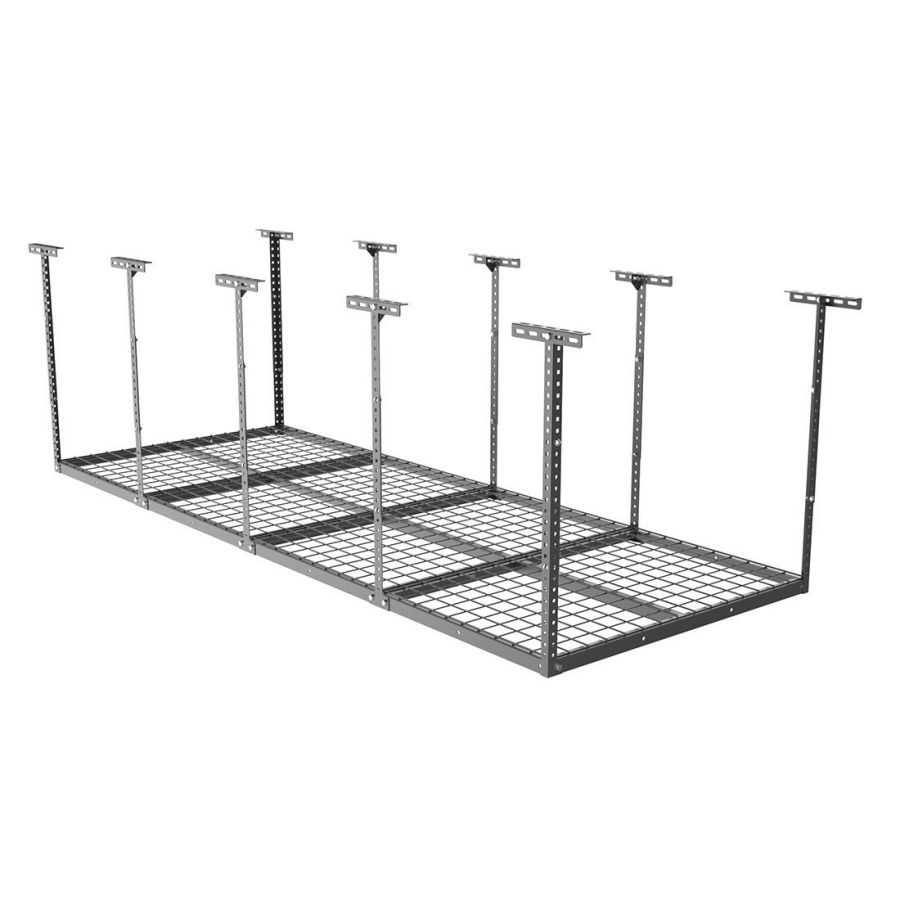 "Fleximounts 96"" Length X 36"" Width X 40"" Height Adjustable Ceiling Storage Rack 3x8 Overhead Garage Black"