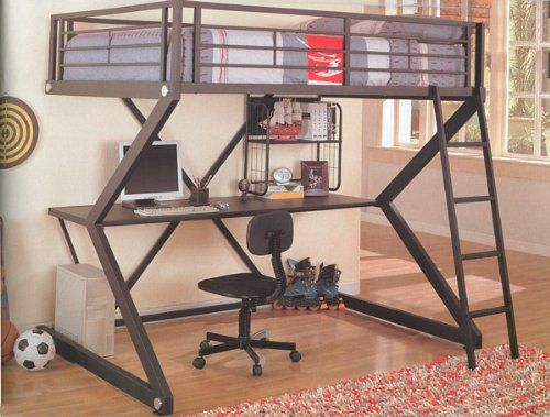 Full Bunk Bed Workstation Loft Bed that Includes Desk