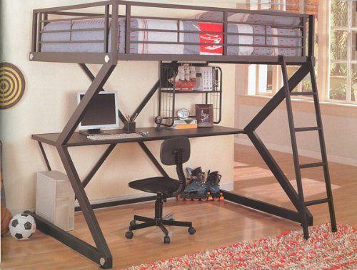 Full Bunk Bed Workstation Loft Bed that Includes Desk