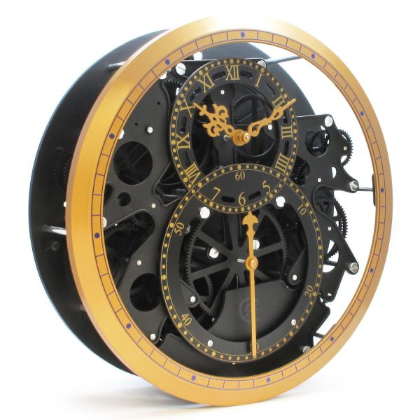 JCC 13 inch Large Retro Modern wall decor Mechanical Moving Gear Revolving Motion Wheel Wall Hanging Clock, Battery operated (Black -Gold)
