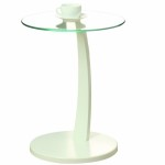 Monarch Bentwood Accent Table with Tempered Glass, White