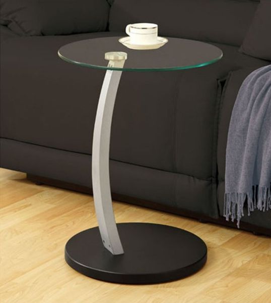 Monarch Specialties Bentwood Accent Table with Tempered Glass, Black/Silver