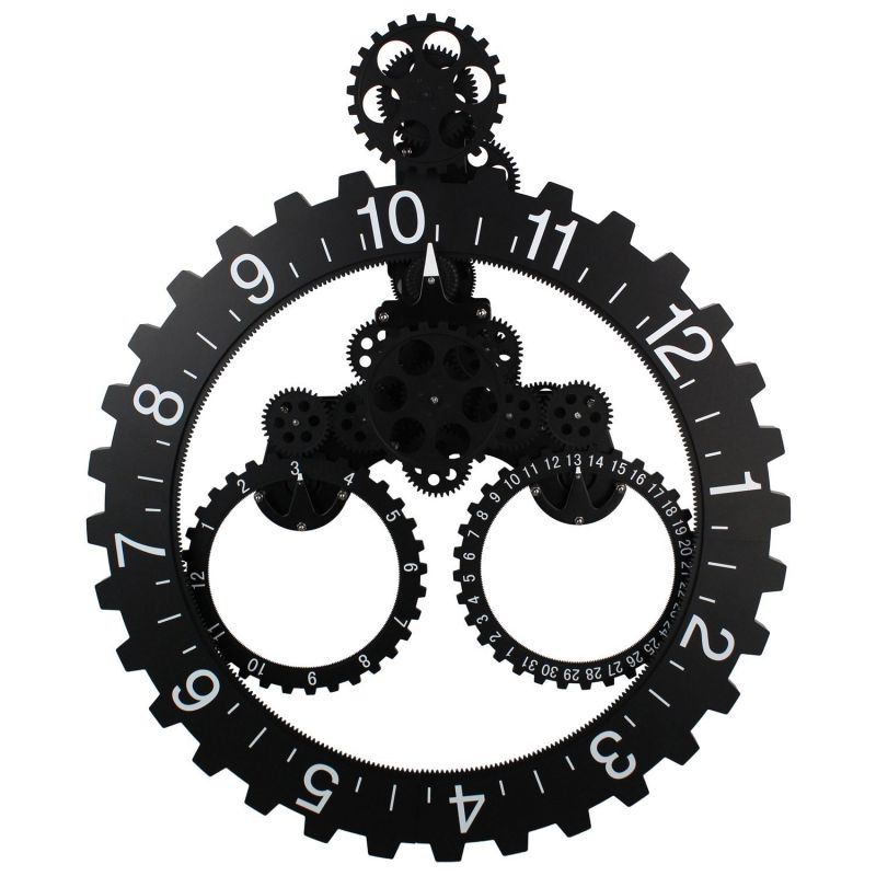 "Sea Team 26"" x 22"" Large Sized Mechanical Style Gear Elements Quartz Movement Wall Clock Decorative Modern Steampunk Big Month/Date/Hour Wheel Clock (Black)"