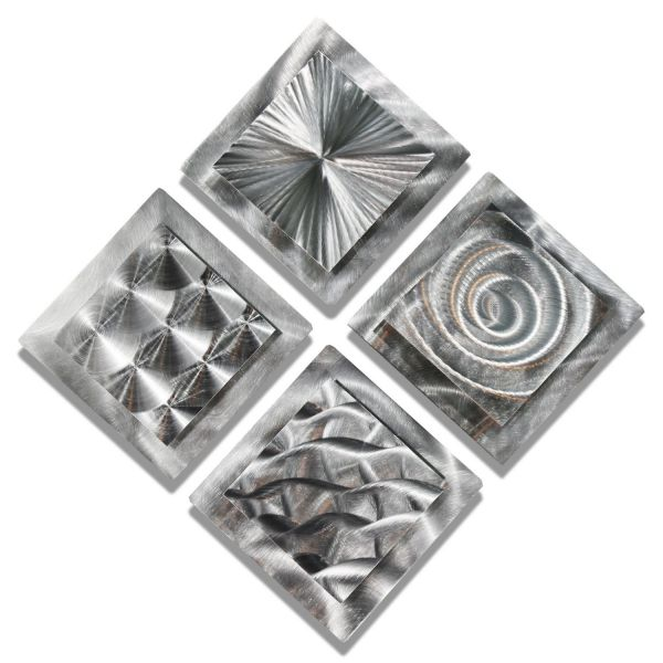 Set of 4 Silver Metal Wall Art Accent - Modern Contemporary Decor by Jon Allen - 4 Squares