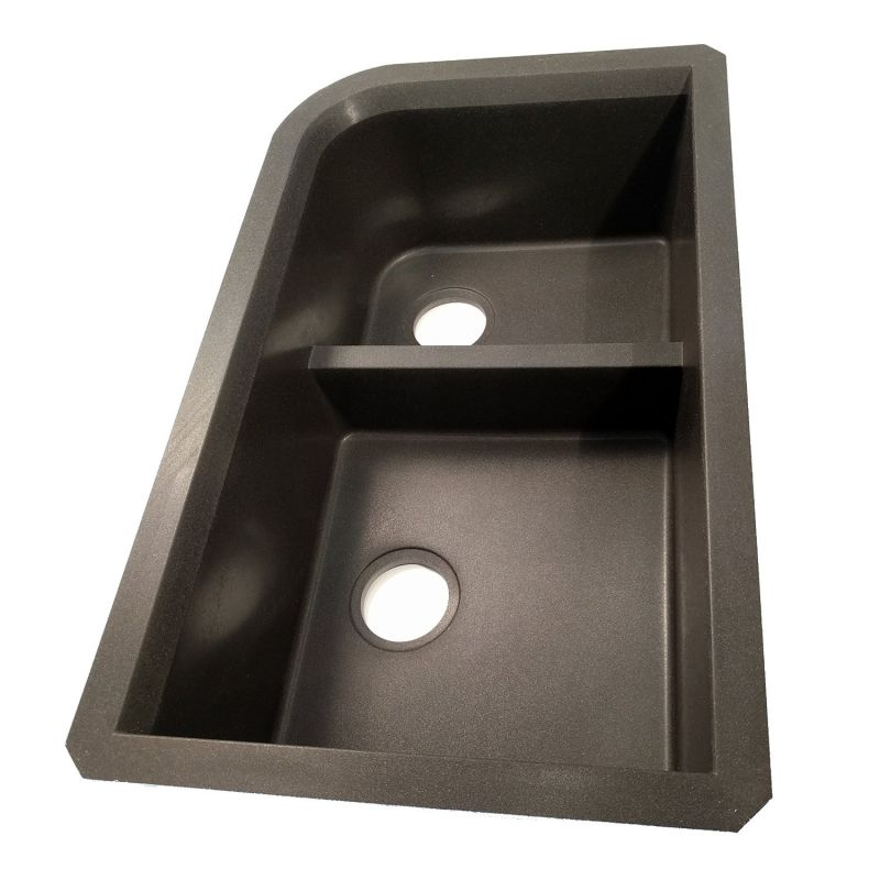 Swanstone QULD-3322.077, Granite Undermount Double Bowl Kitchen Sink, 32-Inch x 21-Inch, (Nero Finish)