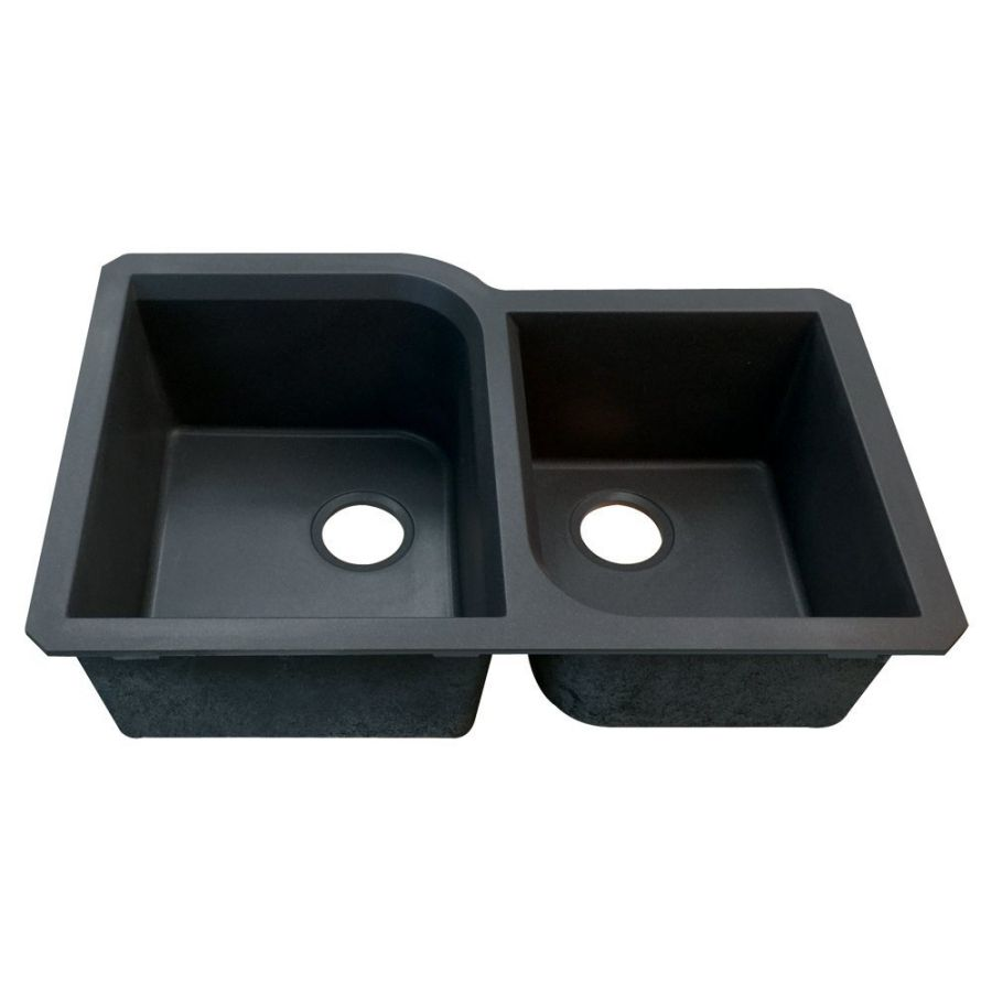 Transolid RUDO3120-09 Radius 31-in L x 20-in W Granite Double Offset Undermount Kitchen Sink, Black