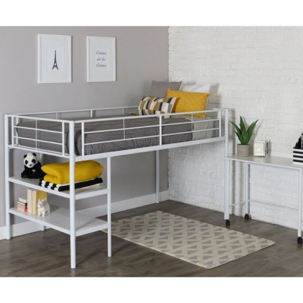 twin modern metal loft bed with desk and shelves white finish