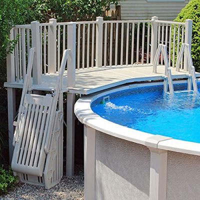 Above ground resin pool decks feel the home for Resin above ground swimming pools