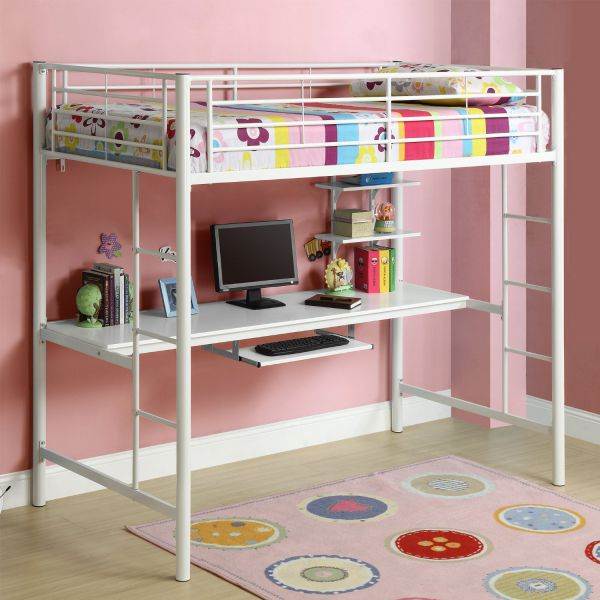 Walker Edison White Metal Twin Loft Bed with Workstation