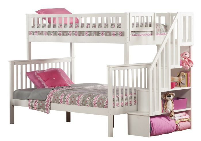 Woodland Staircase Bunk Bed, White, Twin Over Full