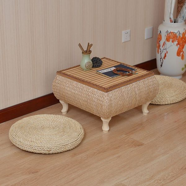 3 BEES Handcrafted Eco-friendly Breathable Padded Knitted Straw Flat Seat Cushion,Hand Woven Tatami Floor Cushion Corn Maize Husk (M)