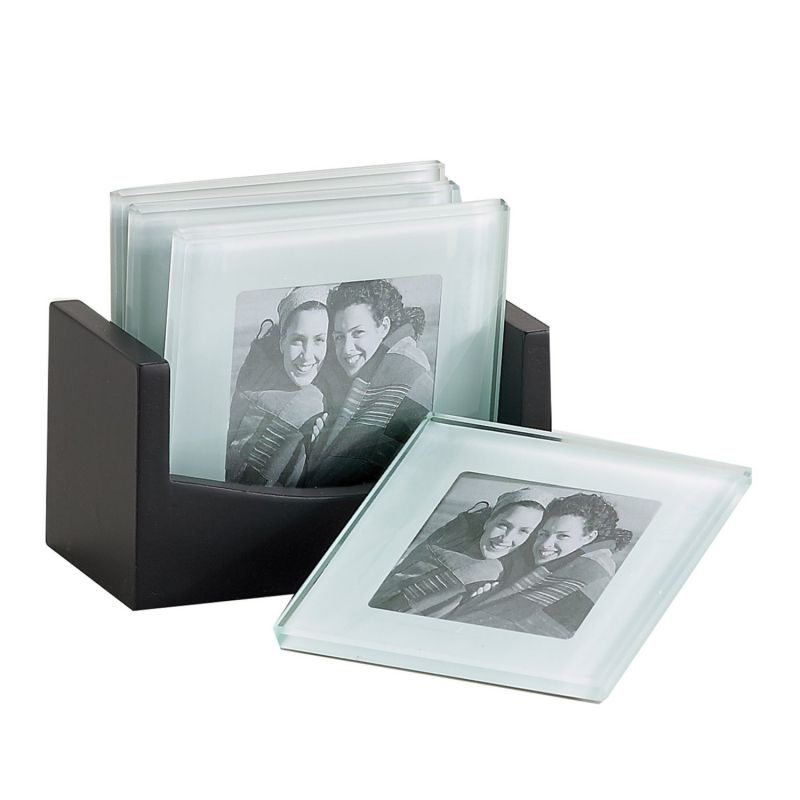 "4"" Frame Photo Glass Coaster, Set of 4, Item # 33221"