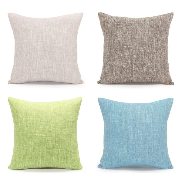 Acanva Decorative Accent Throw Pillow Cushion, with Pillowcase Cover Sham & Insert Filling, Large Size, Solid Color, Set of 4