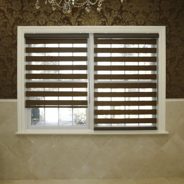 "Best Home Fashion Premium Duo Wood Look Roller Window Shade - Brown - 24""W x 64""L"