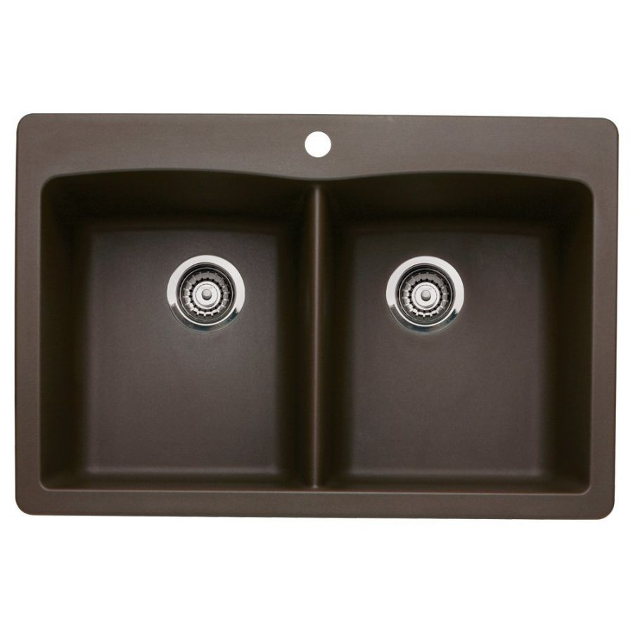 Blanco 440218 Diamond Double-Basin Drop-In or Undermount Granite Kitchen Sink, Cafe Brown