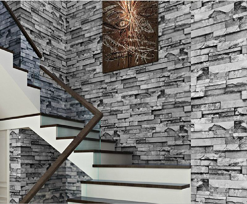 Blooming Wall: 3d Faux Cultural Brick Stone Wallpaper Roll for Livingroom Bedroom, 20.8 In*32.8 Ft=57 Sq.ft,gray