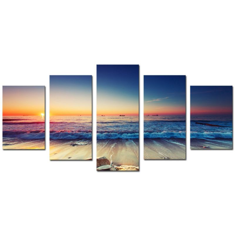 Cao Gen Decor Art-AS40124 5 panels Framed Wall Art Waves Painting on Canvas