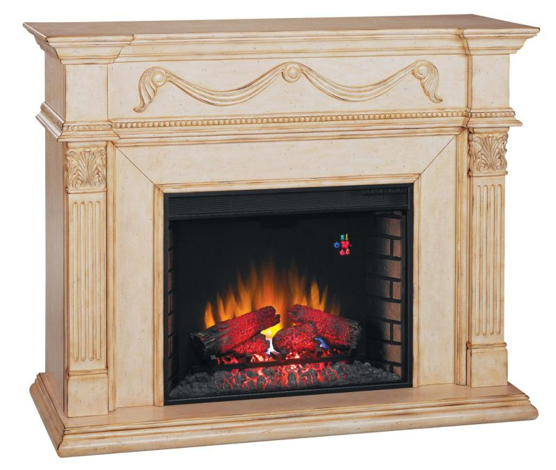 ClassicFlame 28WM184-T408 Gossamer Wall Fireplace Mantel, Antique Ivory (Electric Fireplace Insert sold separately)