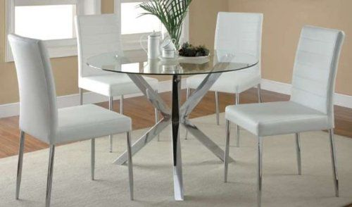 Coaster Home Furnishings Contemporary Dining Chair, Chrome/White