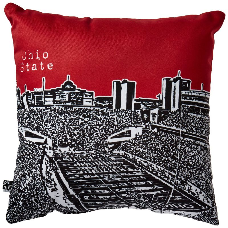 DENY Designs Bird Ave Ohio State Buckeyes Red Throw Pillow, 16 x 16