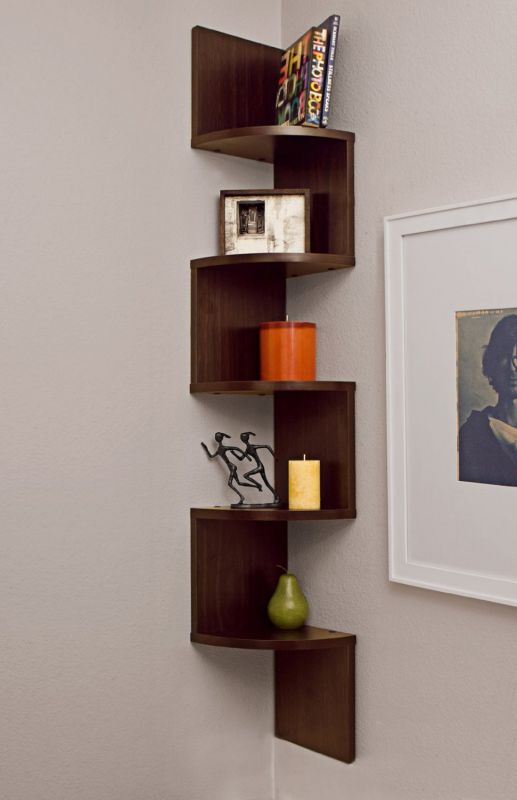 Danya B. Large Corner Wall Mount Shelf - Walnut