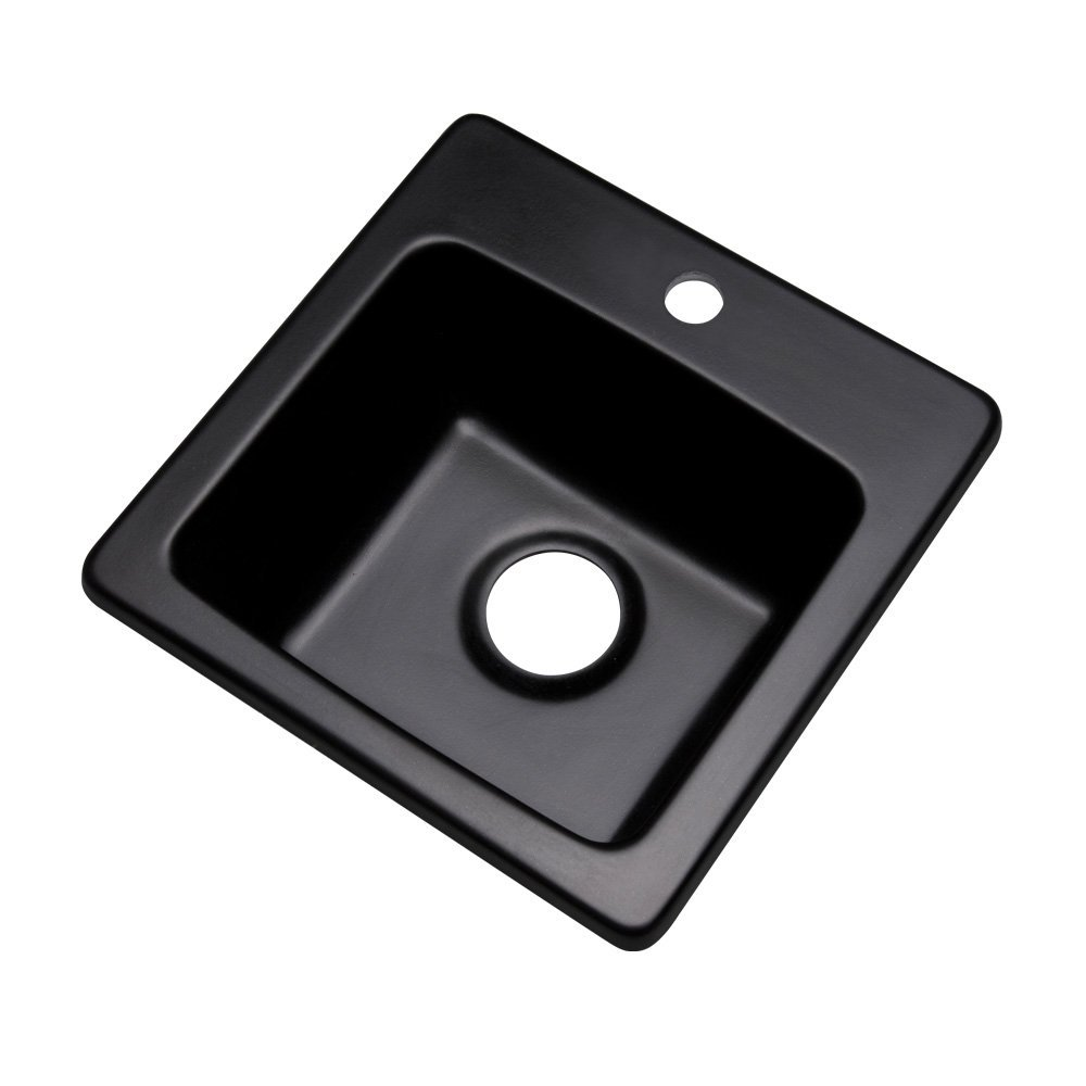 "Dekor Sinks 27199Q Duxbury Composite Granite Prep Sink with One Hole, 16"", Black"