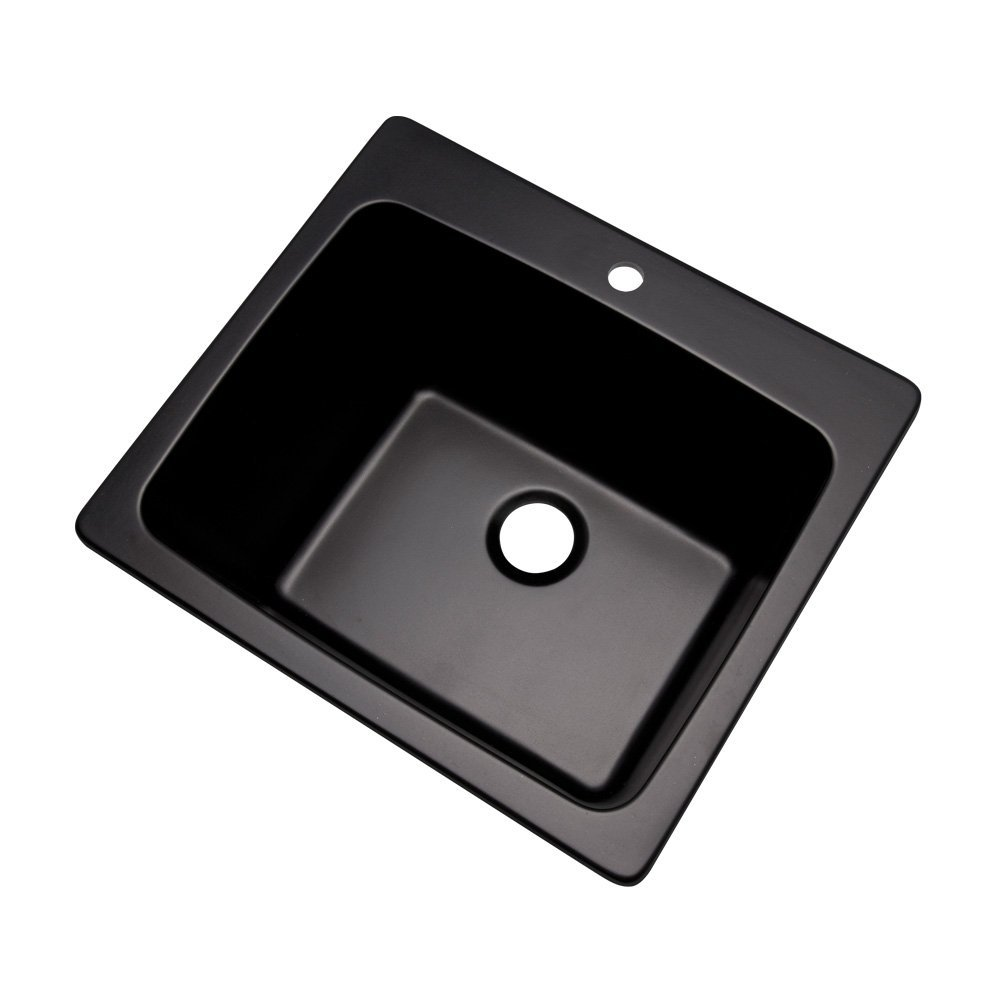 "Dekor Sinks 42199NSC Westworth Composite Utility Sink with One Hole, 25"", Black Natural Stone"