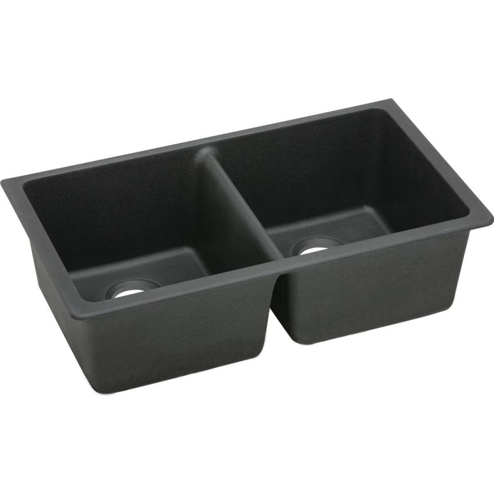 Elkay ELGU3322BK0 Gourmet E-Granite Undermount Sink, Black