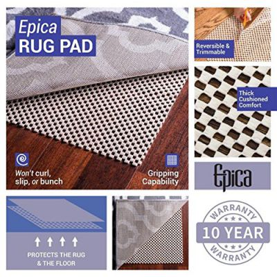 Epica Extra Thick Non-Slip Area Rug Pad 5 x 8 for any hard Surface Floor, Keeps Your Rugs Safe and in Place