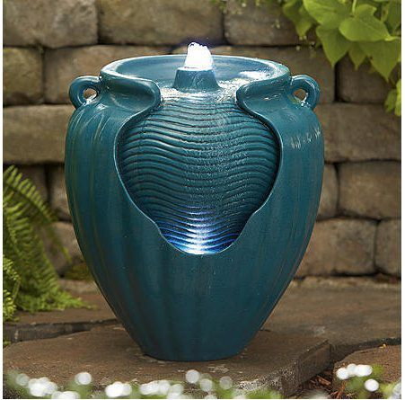 Essential Garden Teal Glazed Pot Fountain