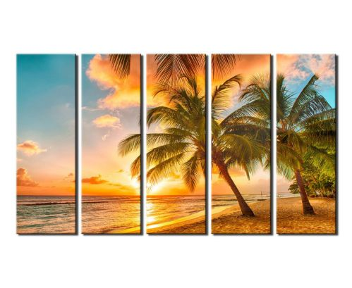 Extra Large 36x60 Inch 5 Panels Canvas Prints Wall Art Decor Sunset Sea Beach with Coconut Palm Framed Tree Ready to Hang - Modern Giclee Art Work Sea Painting Picture for Home and Office Decoration