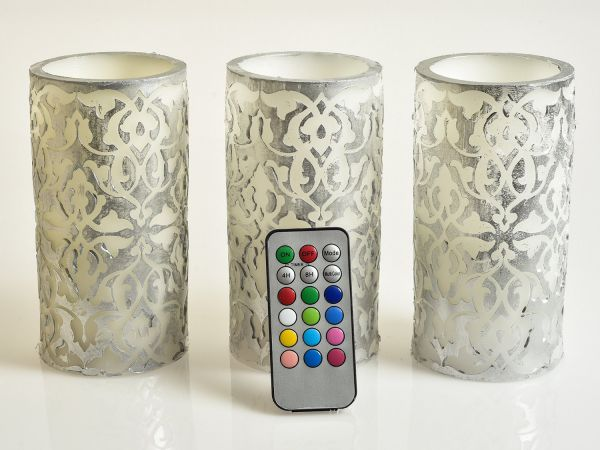 Fleur De Campanula Flameless Candles - (Set of 3) Decorative Mood Relaxing Real Wax Electric Candles with a Floral Design, Multicolor Electric LED Flame with Remote Control and Timer