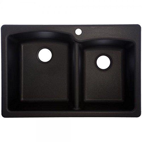 Franke USA EOOX33229-1 Double Offset Granite 9-Inch Deep, Onyx