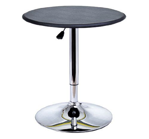 HomCom Modern Adjustable 360 Swivel Vinyl Covered Pub Style Bar Table - Black