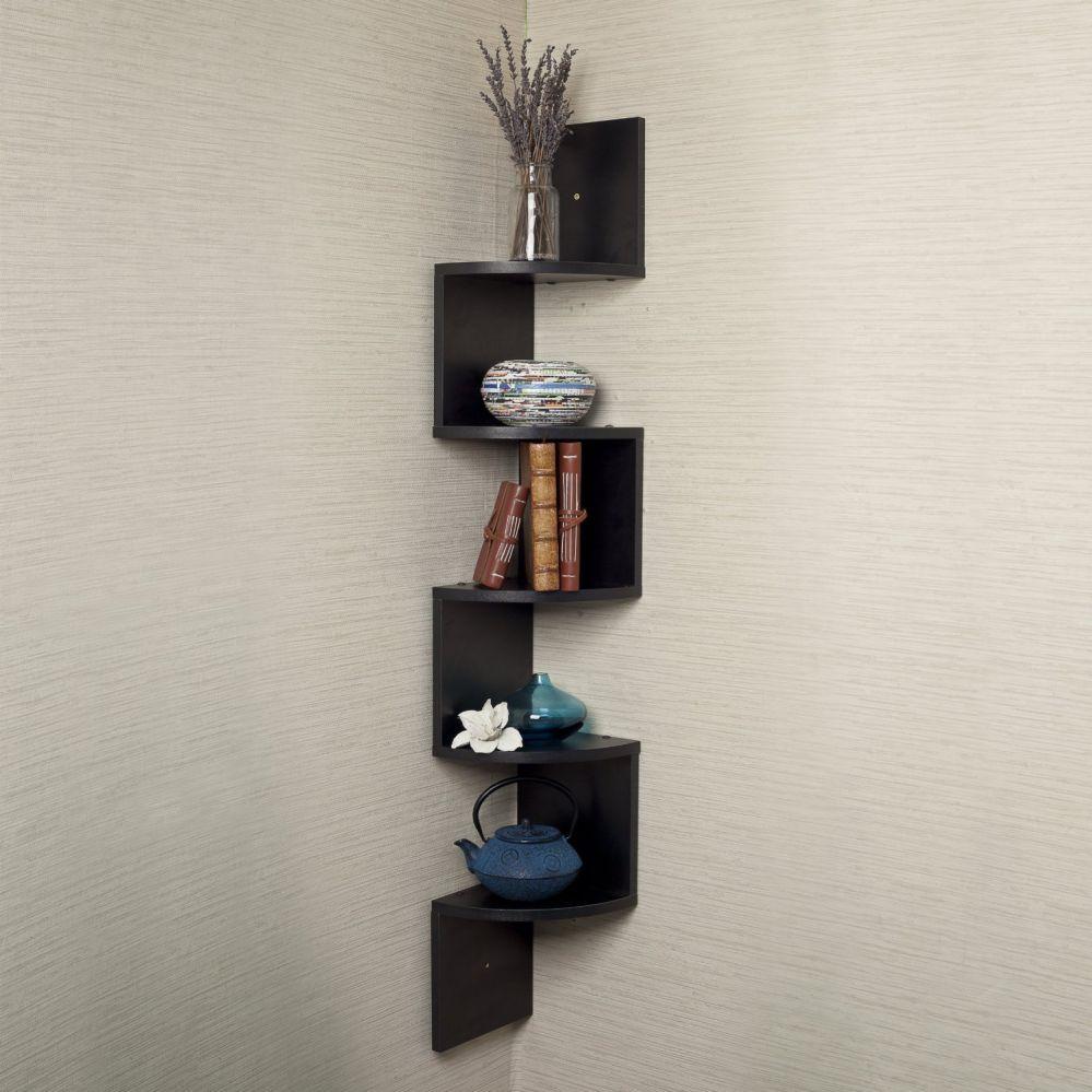 "Houseables Corner Wall Book Shelf, 5 Tier, Black, Floating Side Zig Zag Bookshelf, 7.75 x 7.75 x 48.5"", Wood, Storage Shelves, Small Narrow Decorative, for Decor Display, CD Toy Photo Award Mount"