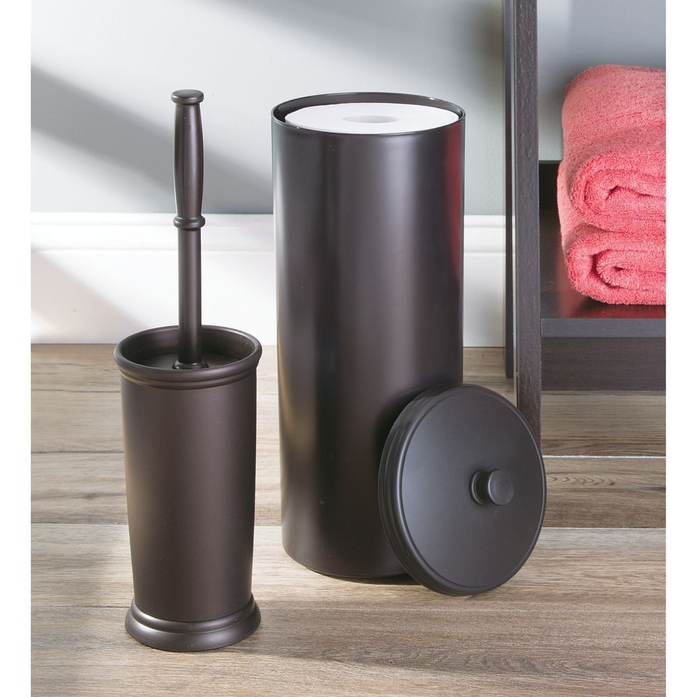 InterDesign Kent Bathware, Free Standing Toilet Paper Roll Holder for Bathroom Storage - Brown