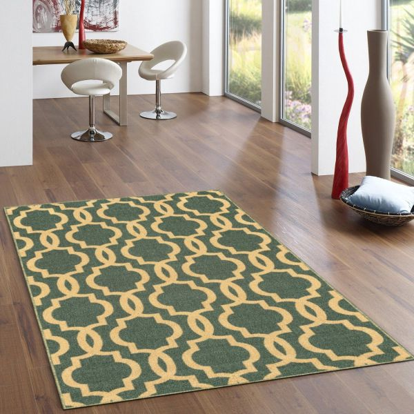 "Kapaqua Rubber Backed Fancy Moroccan Trellis Teal Blue & Beige Area Non-Slip Rug, 60"" L x 40"" W"