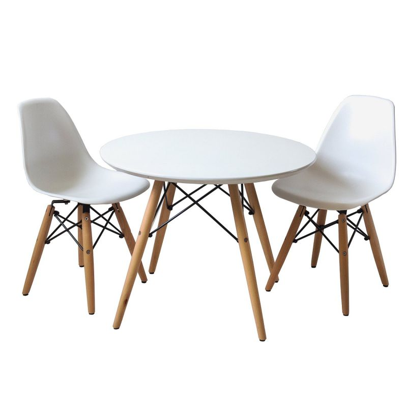 Set of Two (2) White - Kids Eames Style Retro Modern Dining Room Mid Century Shell Chair Metal Natural Wood Dowel Leg Base Plastic Molded Armless No Arm Arms Children Kid Designer Side Chairs