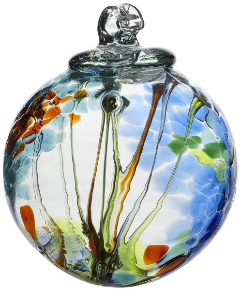 Kitras Art Glass Decorative Spirit Ball, 6-Inch, Light Blue