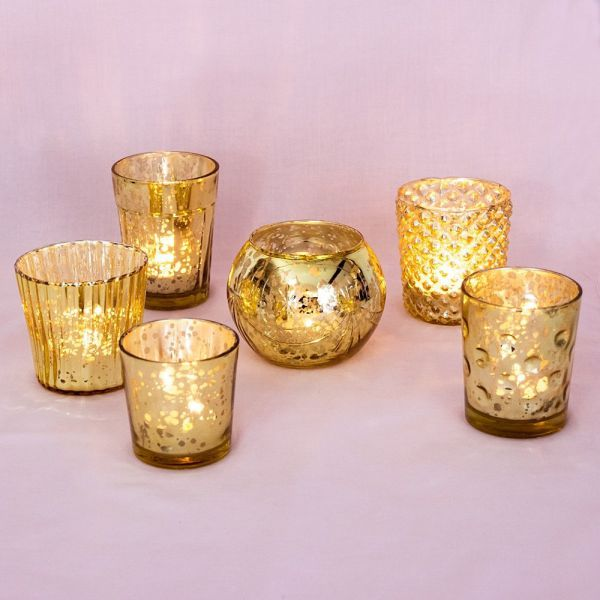 Luna Bazaar Best of Vintage Mercury Glass Candle Holders (Gold, Set of 6) - For Use with Tea Lights - For Home Decor, Parties, and Wedding Decorations
